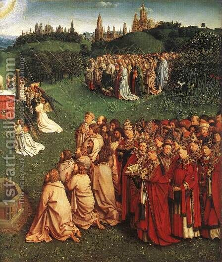 The Ghent Altarpiece- Adoration of the Lamb (detail 3) 1425-29 by Jan Van Eyck - Reproduction Oil Painting