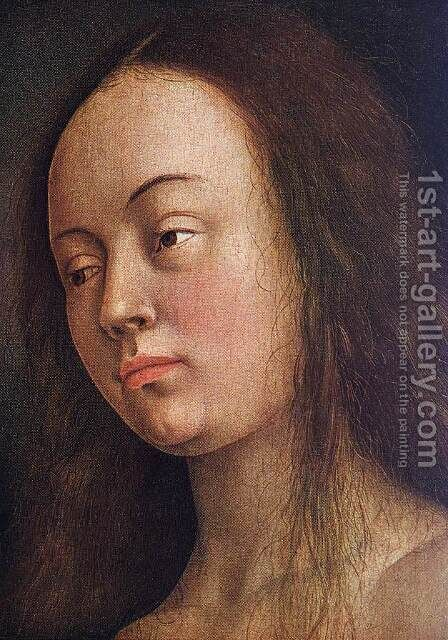 The Ghent Altarpiece- Eve (detail 1) 1425-29 by Jan Van Eyck - Reproduction Oil Painting