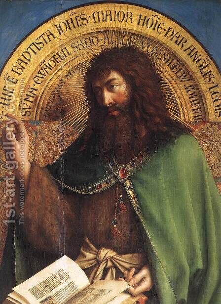 The Ghent Altarpiece- St John the Baptist (detail) 1425-29 by Jan Van Eyck - Reproduction Oil Painting