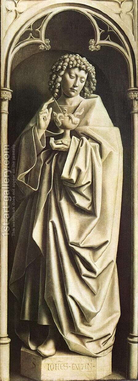 The Ghent Altarpiece- St John the Evangelist 1432 by Jan Van Eyck - Reproduction Oil Painting