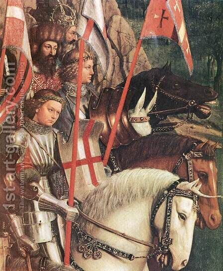 The Ghent Altarpiece- The Soldiers of Christ (detail) 1427-30 by Jan Van Eyck - Reproduction Oil Painting