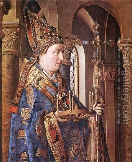 The Madonna with Canon van der Paele (detail 1) 1436 by Jan Van Eyck - Reproduction Oil Painting