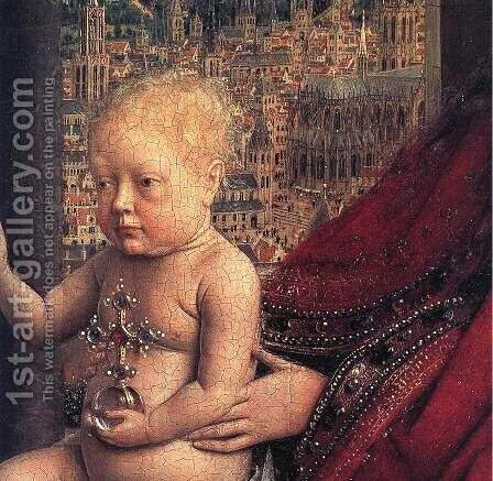 The Virgin of Chancellor Rolin (detail 2) 1435 by Jan Van Eyck - Reproduction Oil Painting