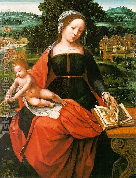 Madonna and Child  1530 by Master of Female Half-Figures - Reproduction Oil Painting