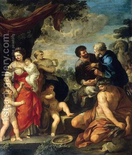 The Reconciliation of Jacob and Laban by Ciro Ferri - Reproduction Oil Painting