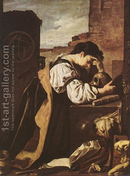 Melancholy c. 1620 by Domenico Fetti - Reproduction Oil Painting