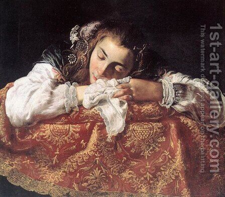 Sleeping Girl c. 1615 by Domenico Fetti - Reproduction Oil Painting