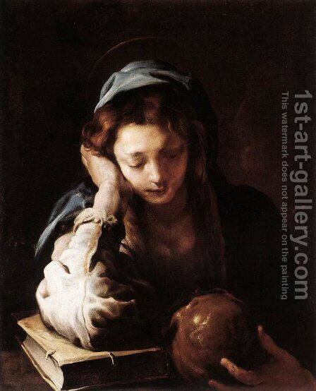 The Repentant St Mary Magdalene 1617-21 by Domenico Fetti - Reproduction Oil Painting