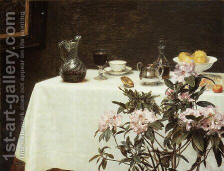 Still Life- The Corner of a Table 1873 by Ignace Henri Jean Fantin-Latour - Reproduction Oil Painting