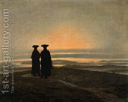 Evening Landscape with Two Men 1830-35 by Caspar David Friedrich - Reproduction Oil Painting