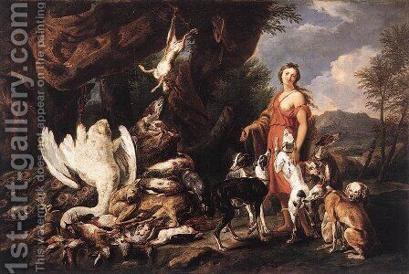 Diana with Her Hunting Dogs beside Kill by Jan Fyt - Reproduction Oil Painting