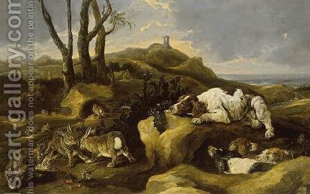 Spaniels Stalking Rabbits in the Dunes 1658 by Jan Fyt - Reproduction Oil Painting