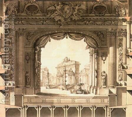Elevation Drawing of the Stage, Versailles Opera House 1760s by Ange-Jacques Gabriel - Reproduction Oil Painting