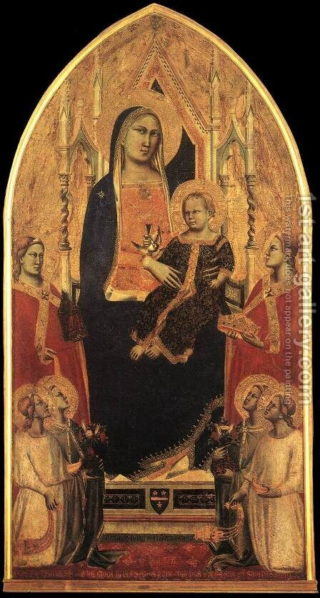 Madonna and Child Enthroned with Angels and Saints 1355 by Agnolo Gaddi - Reproduction Oil Painting