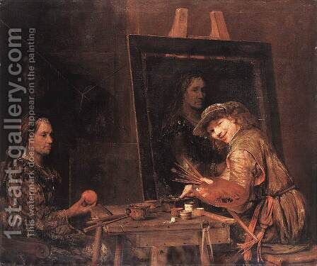 Self-Portrait at an Easel Painting an Old Woman 1685 by Aert De Gelder - Reproduction Oil Painting