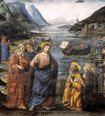 Calling of the Apostles (detail 4) 1481 by Domenico Ghirlandaio - Reproduction Oil Painting