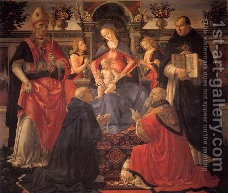 Madonna and Child Enthroned between Angels and Saints c. 1486 by Domenico Ghirlandaio - Reproduction Oil Painting