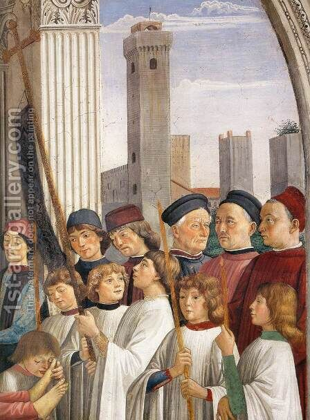 Obsequies of St Fina (detail) 1473-75 by Domenico Ghirlandaio - Reproduction Oil Painting