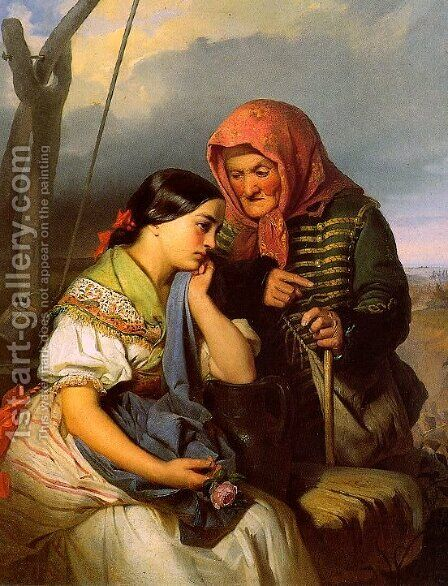Consolation 1852 by Gyorgyi Alajos Giergl - Reproduction Oil Painting