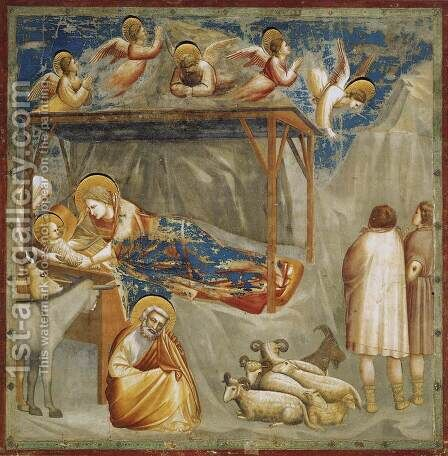 No. 17 Scenes from the Life of Christ- 1. Nativity- Birth of Jesus 1304-06 by Giotto Di Bondone - Reproduction Oil Painting