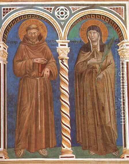 Saint Francis and Saint Clare 1279-1300 by Giotto Di Bondone - Reproduction Oil Painting