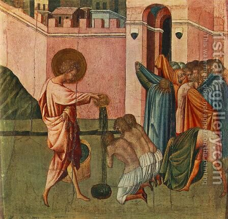 St Ansanus Baptizing 1440s by Giovanni di Paolo - Reproduction Oil Painting