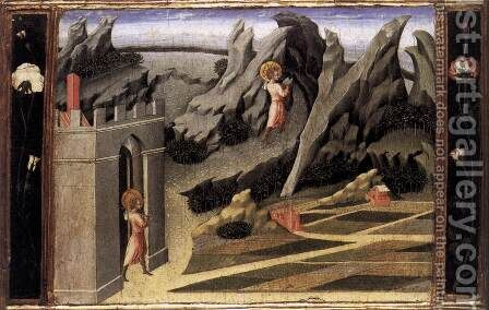 St John the Baptist Goes into the Wilderness 1454 by Giovanni di Paolo - Reproduction Oil Painting