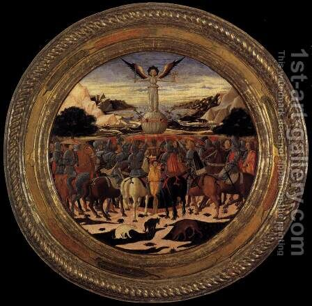 Triumph of Fame (a Birth Salver) c. 1449 by Giovanni di ser Giovanni Guidi (see Scheggia) - Reproduction Oil Painting