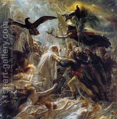 Ossian Receiving the Ghosts of French Heroes 1802 by Anne-Louis Girodet de Roucy-Triosson - Reproduction Oil Painting