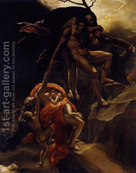 Scene of the Flood c. 1806 by Anne-Louis Girodet de Roucy-Triosson - Reproduction Oil Painting