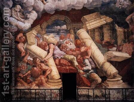 The Fall of the Gigants from Mount Olympus 1530-32 by Giulio Romano (Orbetto) - Reproduction Oil Painting