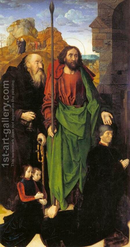 Sts. Anthony and Thomas with Tommaso Portinari 1476-79 by Hugo Van Der Goes - Reproduction Oil Painting