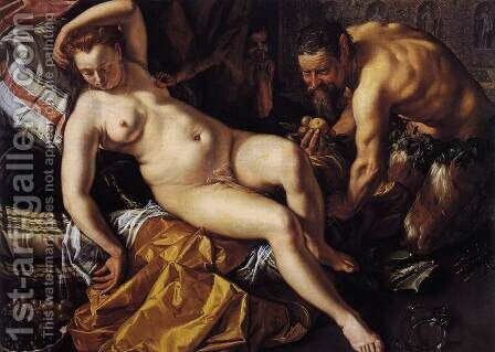 Jupiter and Antiope 1612 by Hendrick Goltzius - Reproduction Oil Painting