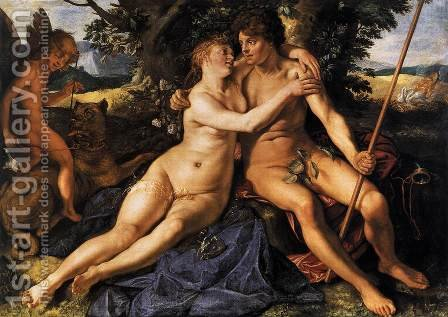Venus and Adonis 1614 by Hendrick Goltzius - Reproduction Oil Painting