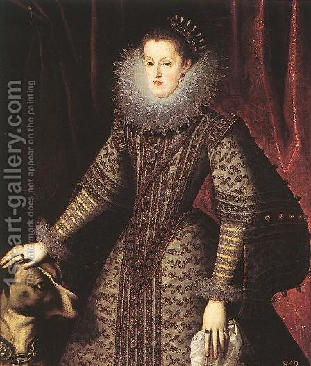 Queen Margarita of Austria 1609 by Bartolome Gonzalez Y Serrano - Reproduction Oil Painting