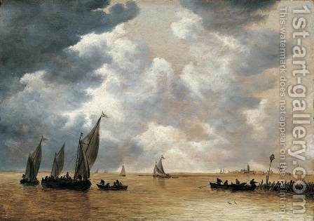 An Estuary Scene 1652-54 by Jan van Goyen - Reproduction Oil Painting