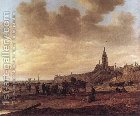 Beach at Scheveningen 1646 by Jan van Goyen - Reproduction Oil Painting
