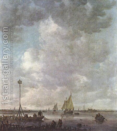Marine Landscape with Fishermen by Jan van Goyen - Reproduction Oil Painting