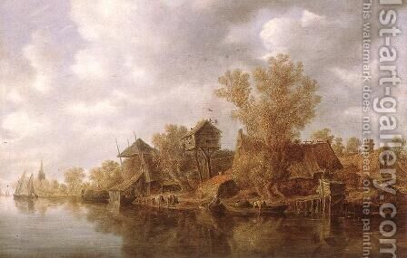 Village at the River 1636 by Jan van Goyen - Reproduction Oil Painting