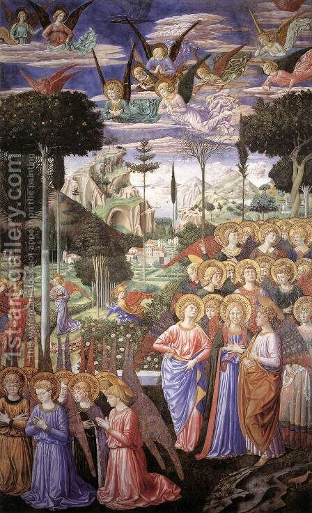 Angels Worshipping-3 1459 by Benozzo di Lese di Sandro Gozzoli - Reproduction Oil Painting