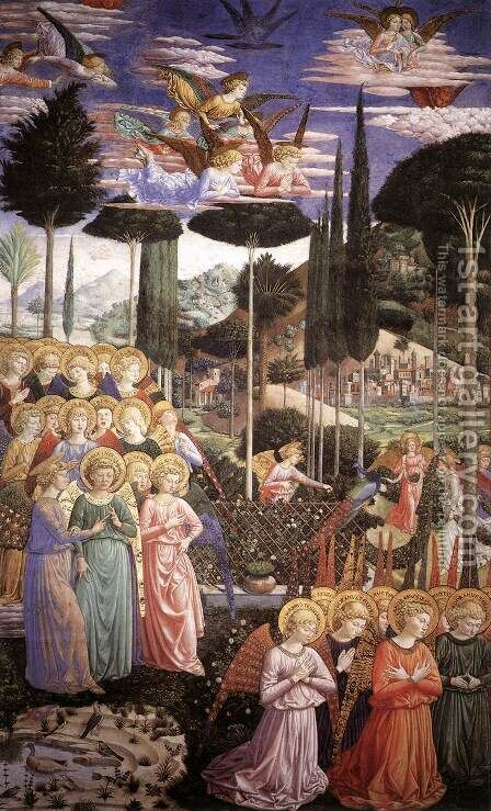 Angels Worshipping (left side of the chancel) 1459-60 by Benozzo di Lese di Sandro Gozzoli - Reproduction Oil Painting