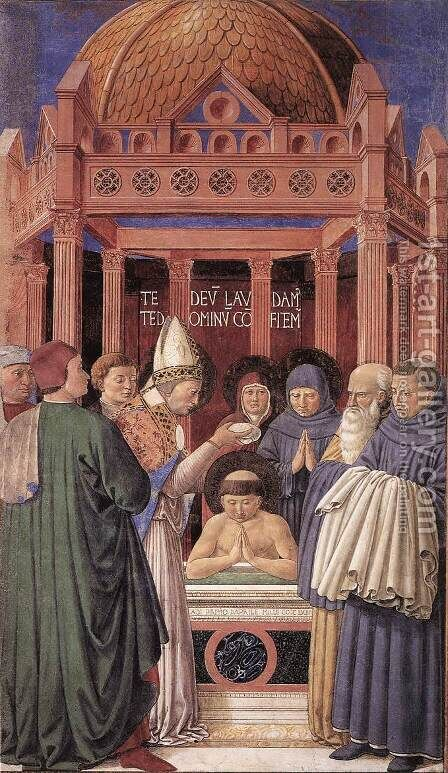 Baptism of St Augustine (scene 11, east wall) 1464-65 by Benozzo di Lese di Sandro Gozzoli - Reproduction Oil Painting