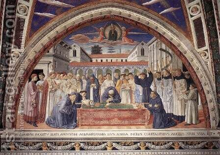 Funeral of St Augustine (scene 17, south wall) 1464-65 by Benozzo di Lese di Sandro Gozzoli - Reproduction Oil Painting