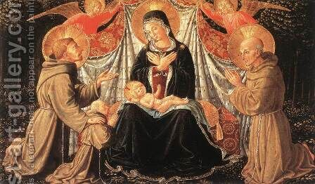 Madonna and Child with Sts Francis and Bernardine, and Fra Jacopo c. 1452 by Benozzo di Lese di Sandro Gozzoli - Reproduction Oil Painting