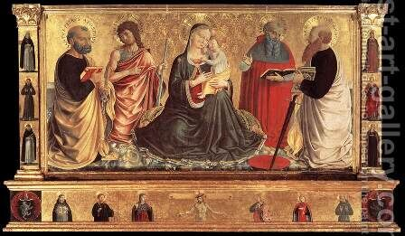 Madonna and Child with Sts John the Baptist, Peter, Jerome, and Paul 1456 by Benozzo di Lese di Sandro Gozzoli - Reproduction Oil Painting