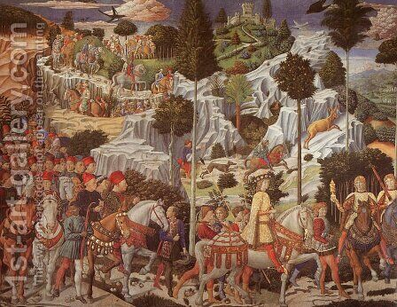 Procession of the Magus Gaspar  1459 by Benozzo di Lese di Sandro Gozzoli - Reproduction Oil Painting
