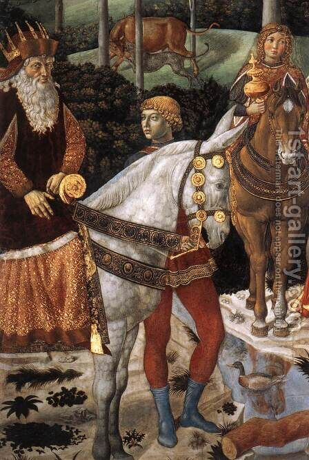 Procession of the Oldest King (detail 2) 1459-60 by Benozzo di Lese di Sandro Gozzoli - Reproduction Oil Painting