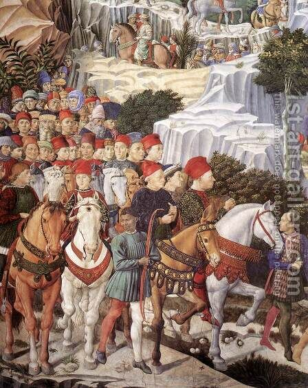 Procession of the Youngest King (detail 1) 1459-60 by Benozzo di Lese di Sandro Gozzoli - Reproduction Oil Painting