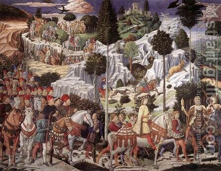 Procession of the Youngest King (east wall) 1459-60 by Benozzo di Lese di Sandro Gozzoli - Reproduction Oil Painting