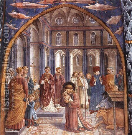 Scenes from the Life of St Francis (Scene 9, north wall) 1452 by Benozzo di Lese di Sandro Gozzoli - Reproduction Oil Painting